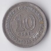 Malaya, George VI, Ten Cents 1948, AVF, WB1022